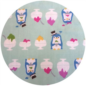 Cosmo Textiles, DOUBLE GAUZE, Sundae Penguin Aqua