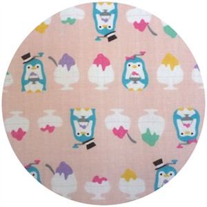 Cosmo Textiles, DOUBLE GAUZE, Sundae Penguin Pink