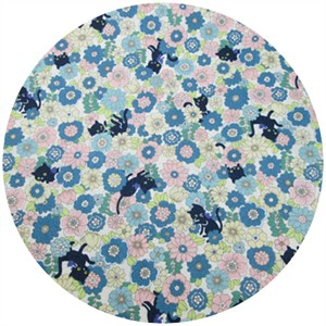 Cosmo Textiles, Floral Kitty Light Blue