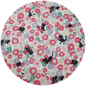 Cosmo Textiles, Floral Kitty Pastel