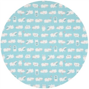 Cosmo Textiles, Hippos Light Blue (Double Gauze)