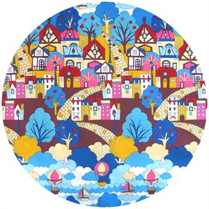 Cosmo Textiles, Hot Air Balloon City Blue