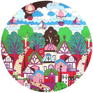 Cosmo Textiles, Hot Air Balloon City Purple