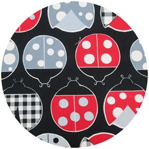 Cosmo Textiles, Ladybug Season, Black