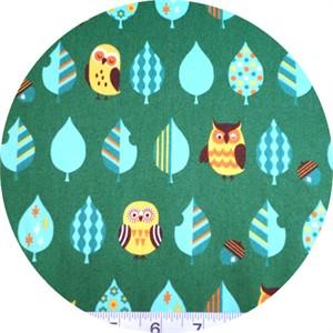 Cosmo Textiles, Mod Owls Green