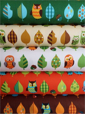 Cosmo Textiles, Mod Owls Sampler in FAT QUARTERS 5 Total