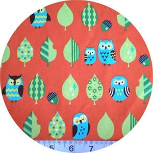 Cosmo Textiles, Mod Owls Tomato