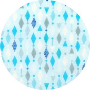 Cosmo Textiles, Mod Times, DOUBLE GAUZE, Diamond Garland Blue