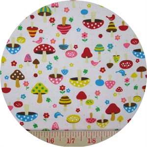 Cosmo Textiles, OXFORD, Tiny Toadstools Pink