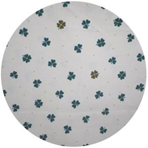 Cosmo Textiles, Printed Corduroy, Four Leaf White