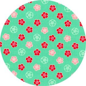 Cosmo Textiles, Sakura II, Bloom Aqua Green