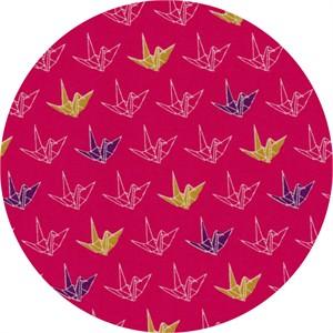 Cosmo Textiles, Sakura II, Paper Cranes Bright Pink