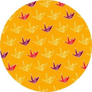 Cosmo Textiles, Sakura II, Paper Cranes Mustard