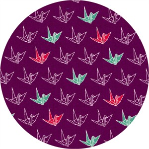 Cosmo Textiles, Sakura II, Paper Cranes Purple