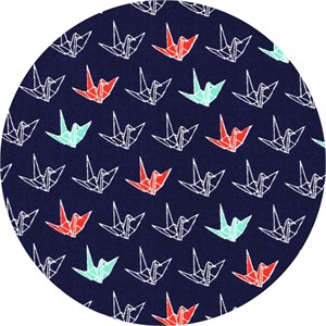 Cosmo Textiles, Sakura II, Paper Cranes Navy