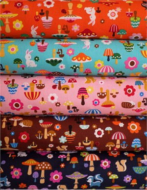 Cosmo Textiles, Shroom and Friends in FAT QUARTERS 5 Total (Pre-cut)
