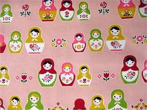 Cosmo Textiles, Sweet Matroyshkas, Pink