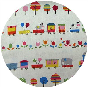 Cosmo Textiles, Trains in Lines Ivory