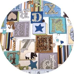 Cosmo Textiles, Victorian Alphabet Blue