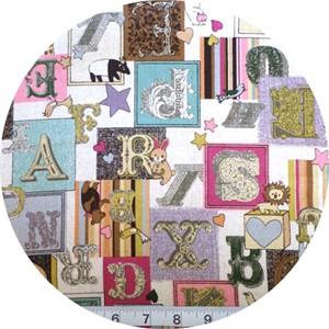 Cosmo Textiles, Victorian Alphabet Pink