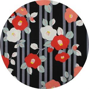 Japanese Import, CREPE, Kimono Flower Black