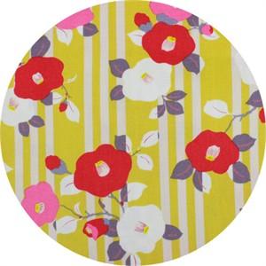 Japanese Import, CREPE, Kimono Flower Mustard