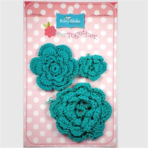 Crocheted Flowers, 3 Pack, Aqua