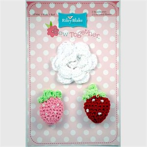 Crocheted Flowers and Strawberries, 3 Pack, Multi