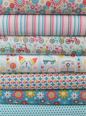 Dani for Riley Blake, Girl Crazy, Blue in FAT QUARTERS 7 Total