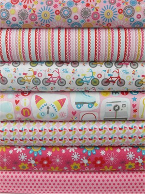 Dani for Riley Blake, Girl Crazy, Pink in FAT QUARTERS 6 Total