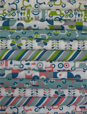 Dan Stiles for Birch Fabrics Organic, Mod Squad in FAT QUARTERS, 12 Total