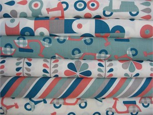 Dan Stiles for Birch Fabrics Organic, Mod Squad Coral in FAT QUARTERS, 6 Total