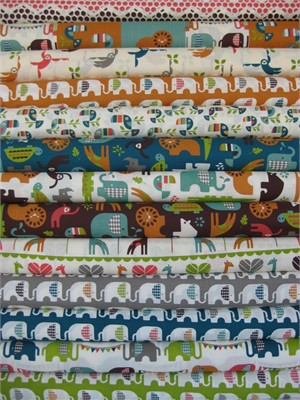 Dan Stiles for Birch Fabrics Organic, Safari Soiree in FAT QUARTERS, 13 Total