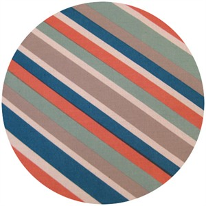 Dan Stiles for Birch Fabrics Organic, Mod Squad, Mod Stripe Coral
