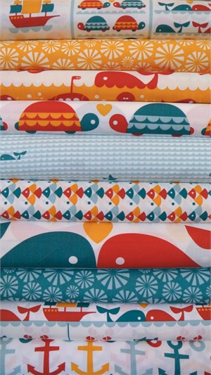 Dan Stiles for Birch Organic Fabrics, Marine Too, Entire Collection 10 in Total