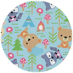 David Textiles, FLANNEL, Raccoons and Friends Blue
