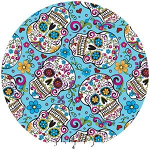 David Textiles, Folkloric Skulls Aqua