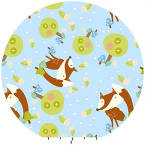 David Textiles, Friendly Fox, FLANNEL, Foxes Blue
