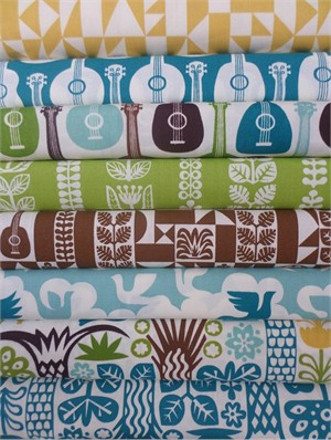 Dennis Bennett Birch Organic Fabrics, Ipanema, Boy in FAT QUARTERS 6 Total