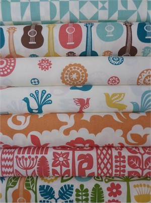 Dennis Bennett Birch Organic Fabrics, Ipanema, Girl in FAT QUARTERS 6 Total