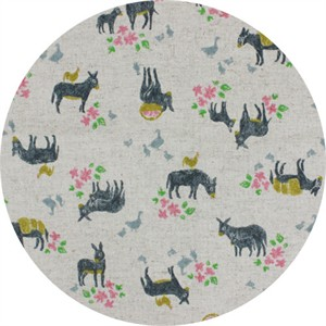 Cosmo Textiles, CANVAS, Delightful Donkeys Natural