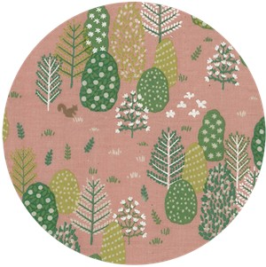 Japanese Import, DOUBLE GAUZE, Forest Trees Pink