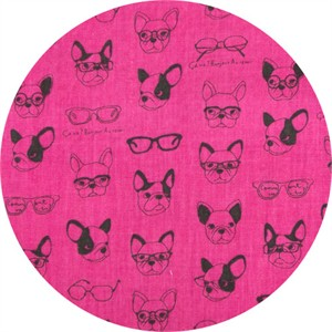 Japanese Import, DOUBLE GAUZE, French Bulldogs Hot Pink