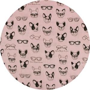 Japanese Import, DOUBLE GAUZE, French Bulldogs Pink