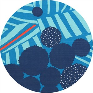 Echino, Linear DOUBLE GAUZE, Ray Blue Border Print