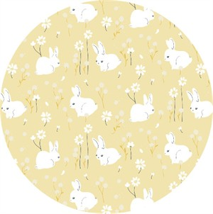 AVAILABLE FOR PREORDER, Jenny Lumelsky for Birch Organic Fabrics, Little, DOUBLE GAUZE, White Bunny
