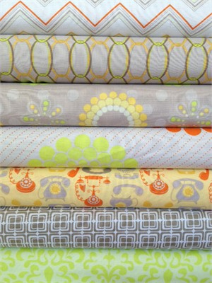 Doohickey Designs, Ashbury Heights, Orange in FAT QUARTERS 7 Total (PRE-CUT)
