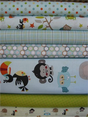 Doohickey Designs for Riley Blake, Life in the Jungle, Blue in FAT QUARTERS, 7 Total