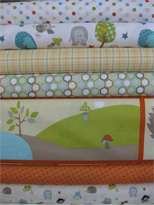 Doohickey Designs for Riley Blake, Life in the Jungle, Orange in FAT QUARTERS, 7 Total