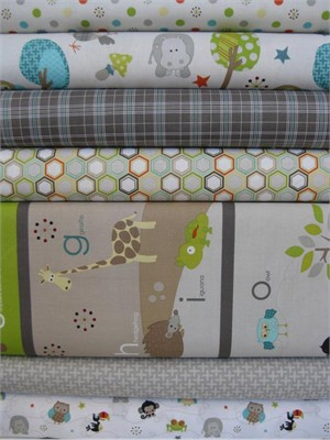 Doohickey Designs for Riley Blake, Life in the Jungle, Grey in FAT QUARTERS, 7 Total